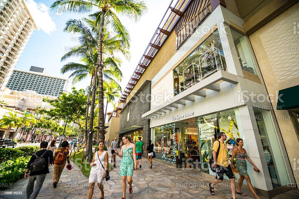 Waikiki street, people shopping stock photo