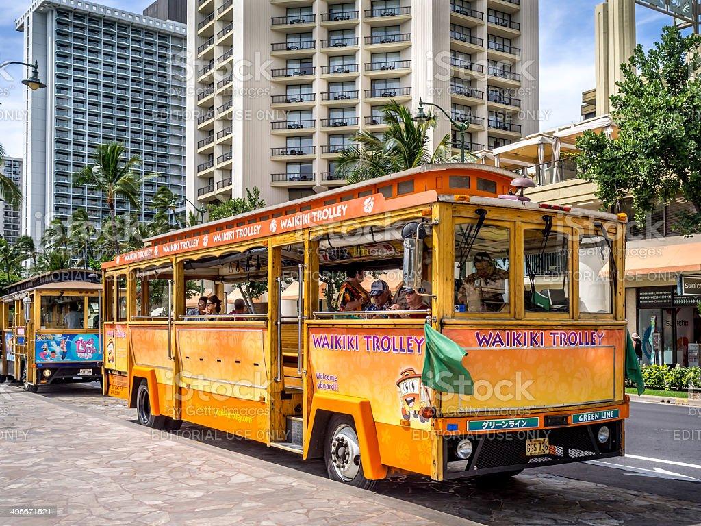 Waikiki Trolley bus stock photo
