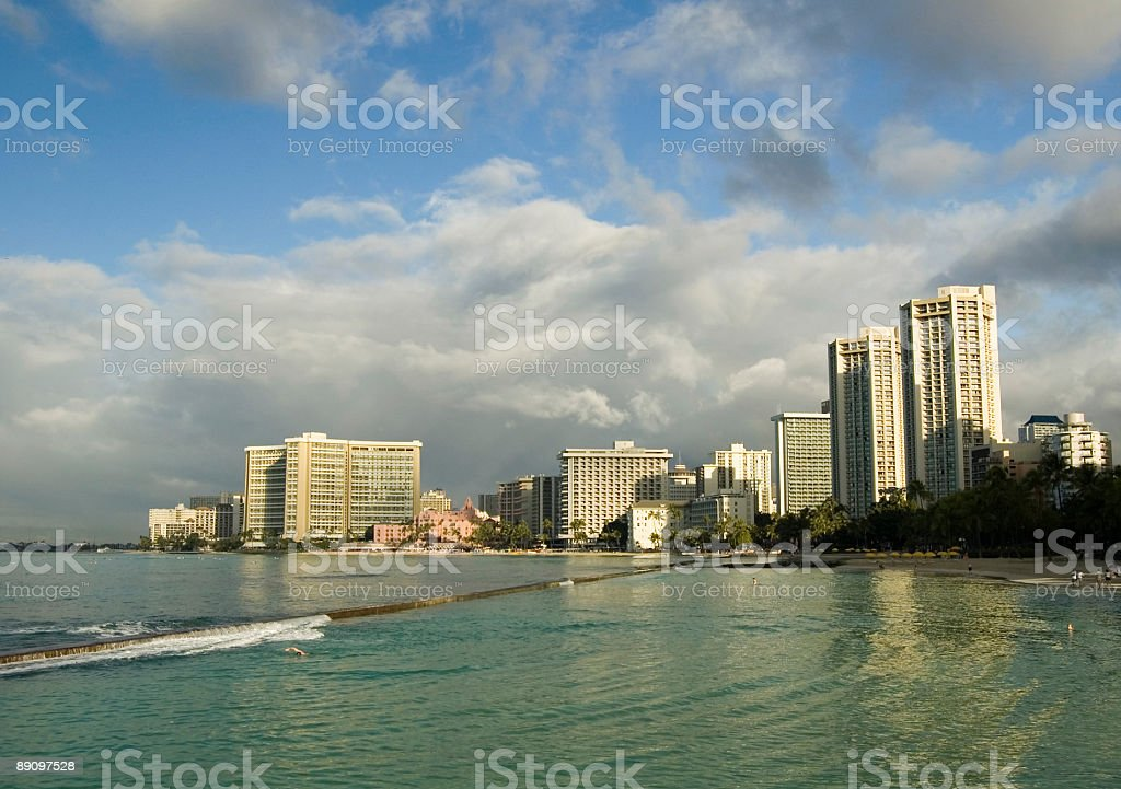 Waikiki With Approaching Storm royalty-free stock photo