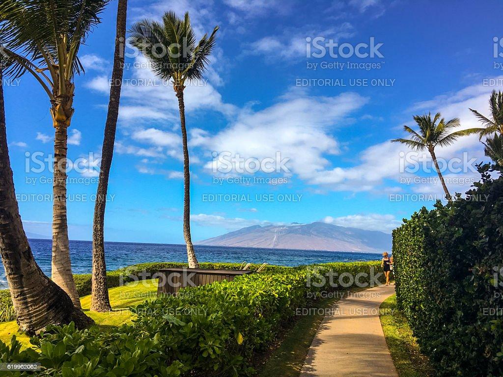 Wailea beach boardwalk, Hawaii, USA stock photo
