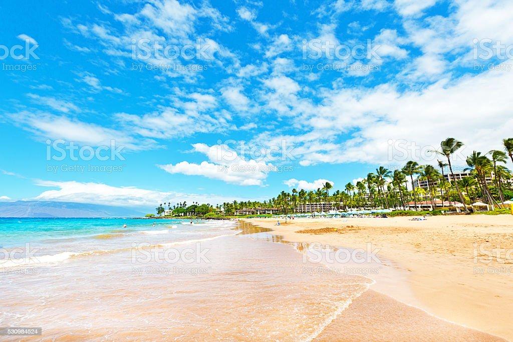 Wailea Beach on the Southwest Shore of Maui Hawaii stock photo