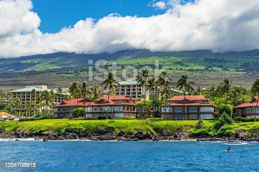 Kihei, HI / USA – September 9, 2019: A view of the Wailea Point Condominiums and the Four Seasons Resort located on the island of Maui, Hawaii.
