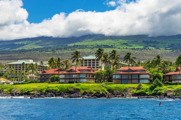 Wailea Point Condominiums and the Four Seasons Resort in Maui, Hawaii stock photo