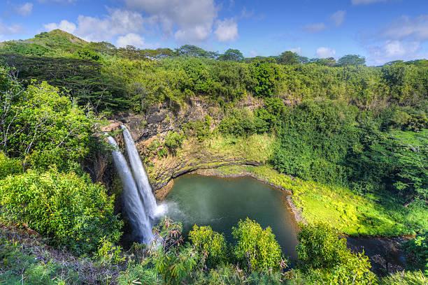 Wailua Falls Hawaiian Waterfall stock photo