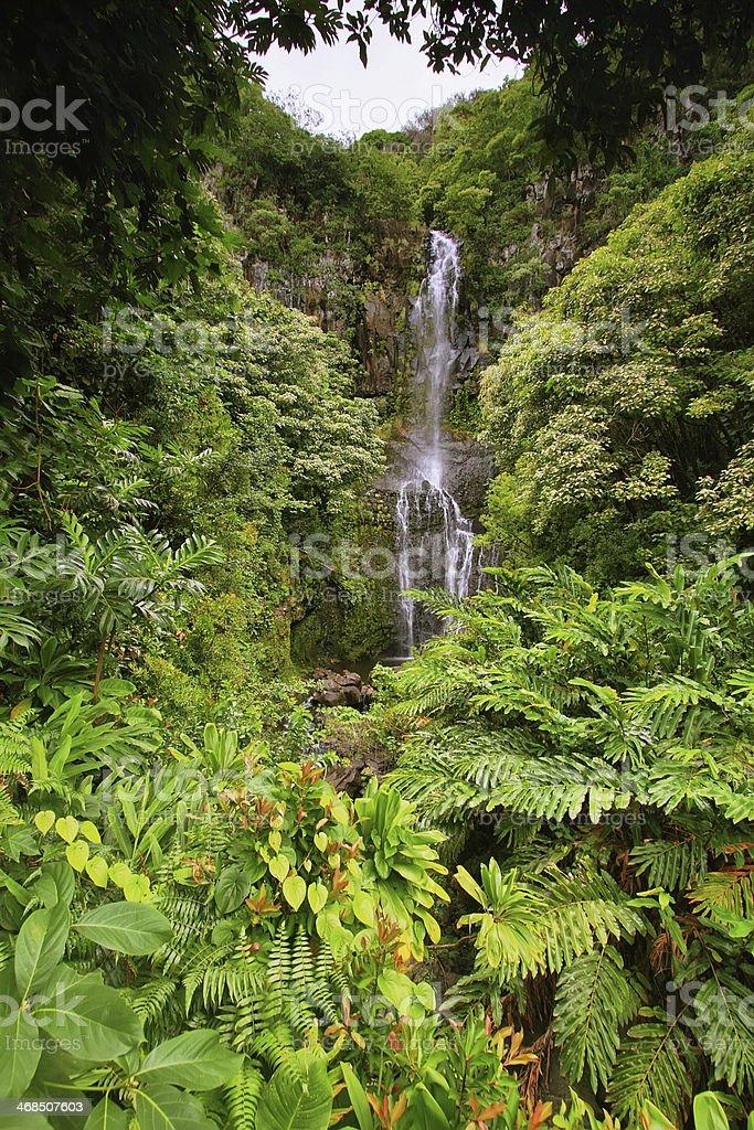 Wailua falls in east Maui stock photo