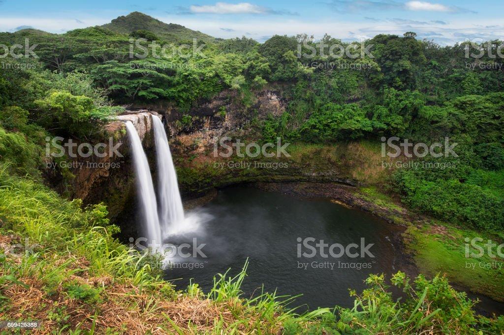 Wailua falls near the island capital Lihue on the island of Kauai, Hawaii. stock photo