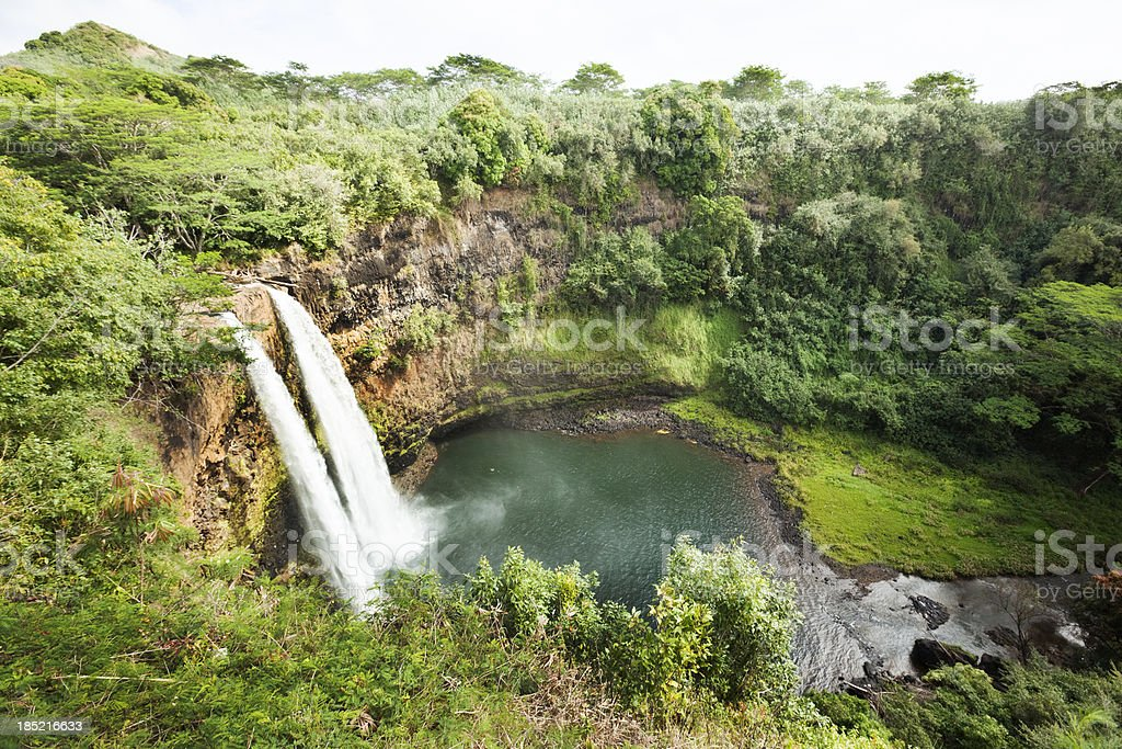 Wailua Falls of Kauai Hawaii royalty-free stock photo