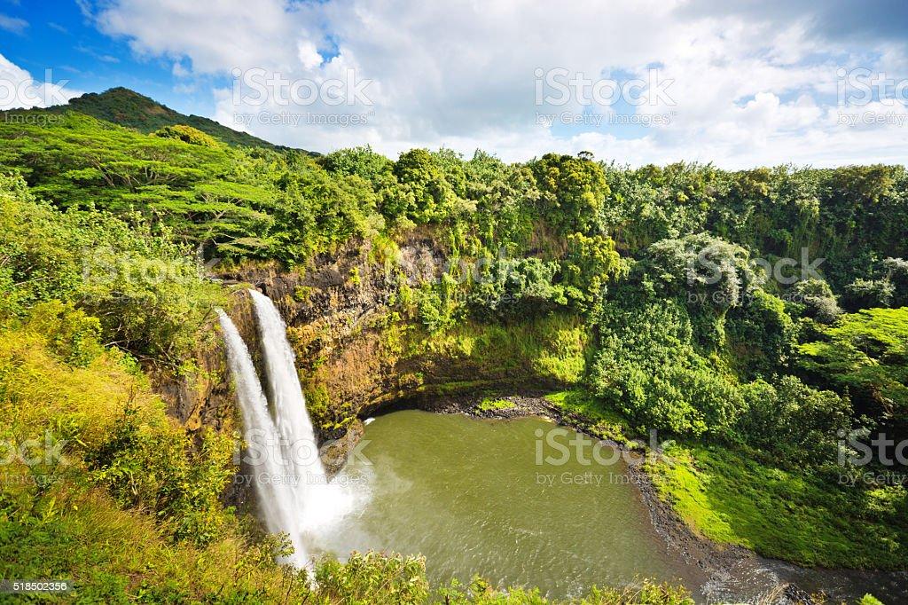 Wailua Falls of Kauai Hawaii stock photo