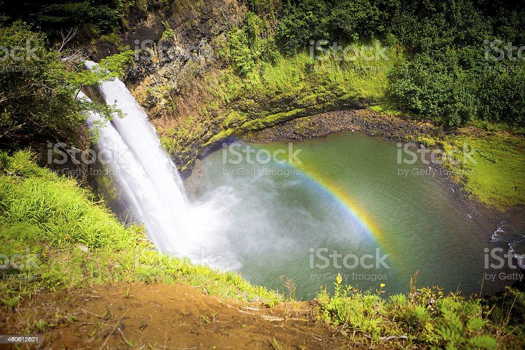 Wailua Falls with Ranbow in Kauai Hawaii stock photo