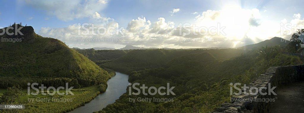 Wailua river panorama stock photo