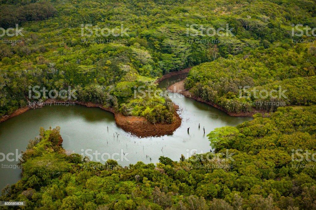 wailua river valley, kauai islands, hawaii islands stock photo