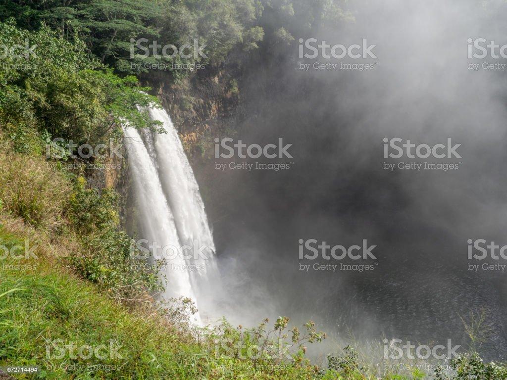 Wailua waterfalls on Kauai, Hawaii stock photo