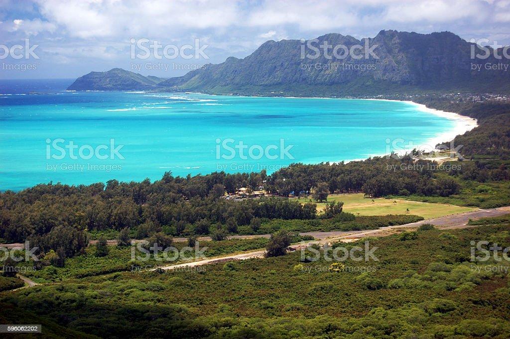 Waimanalo Bay lined by white-sand beach on Oahu, Hawaii stock photo