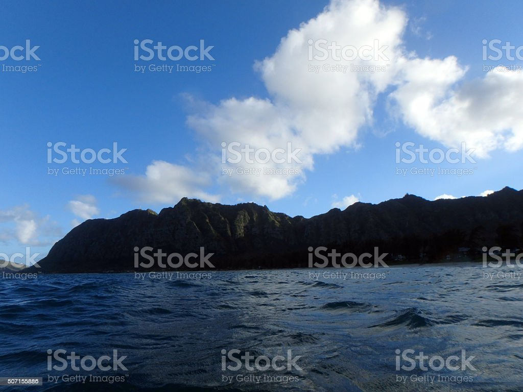 Waimanalo Bay with Beach and Koolau Mountains stock photo