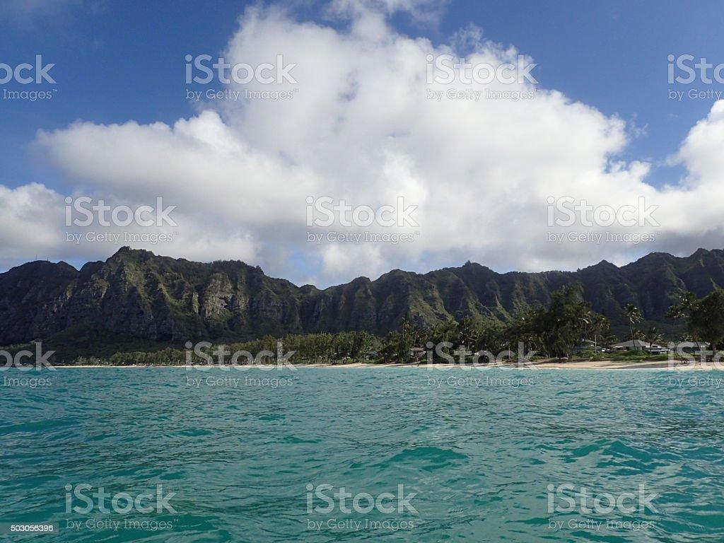 Waimanalo Bay with Beach and Koolau Mountians stock photo