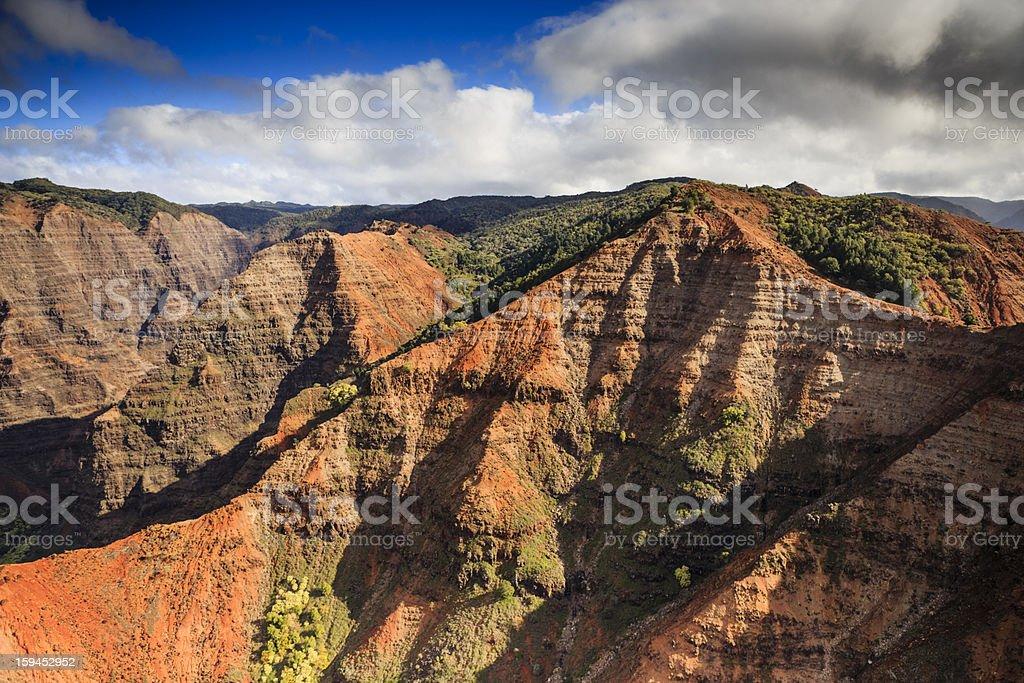 Waimea Canyon, Kauai taken from Helicopter stock photo
