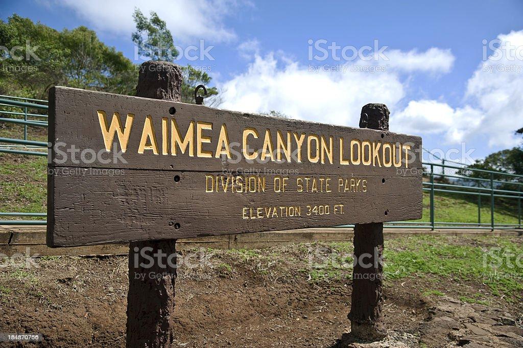 Waimea Canyon Lookout Sign on Kauai, Hawaii stock photo