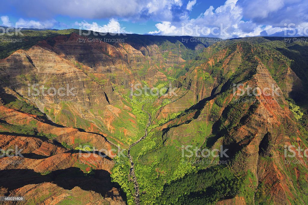 Waimea Canyon State Park from above stock photo
