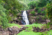 Scenic waterfall with a swimming waterhole, but significant falls only in rainy season