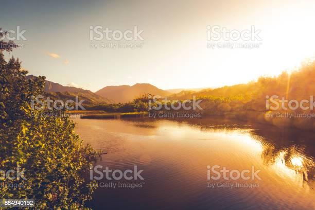 Photo of waimea river at sunset on kauai island, hawaii islands