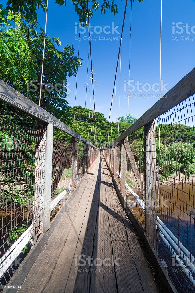 Waimea Swinging Bridge On Kauai Stock Photo More Pictures Of Adventure