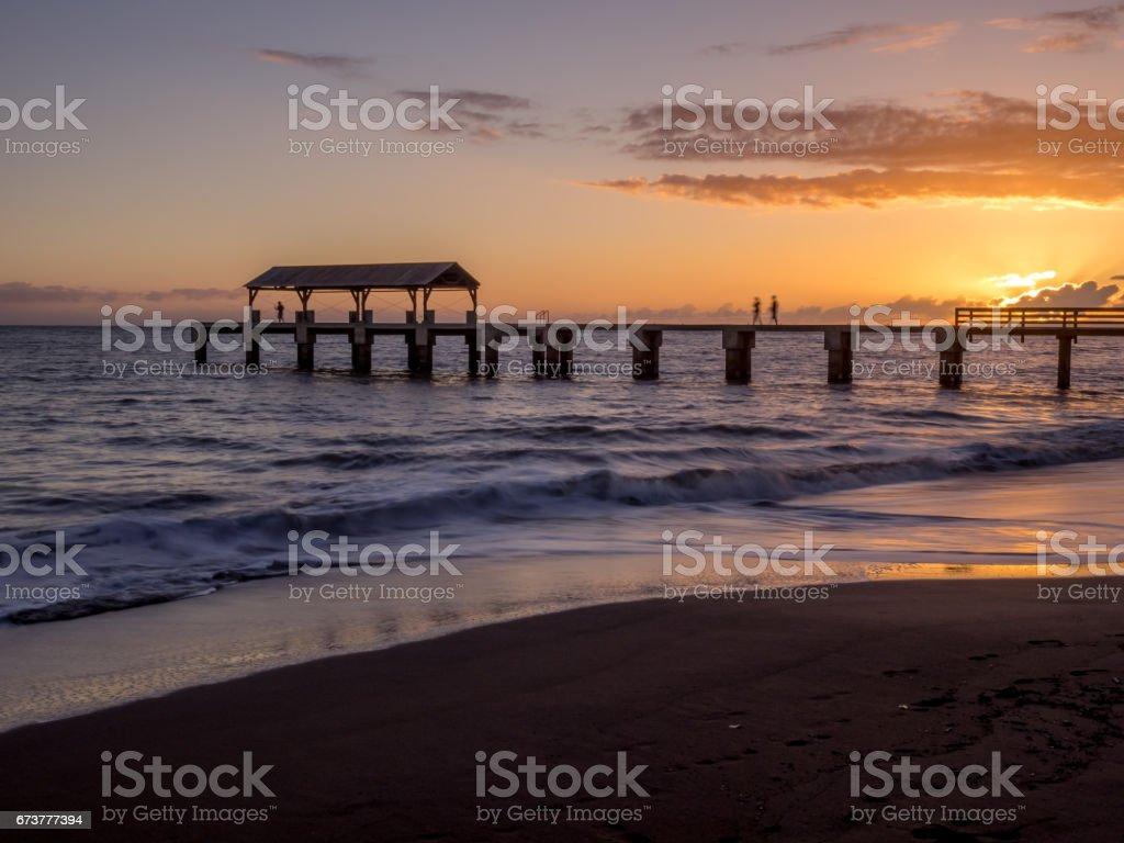 Waimea Town pier at sunset royalty-free stock photo
