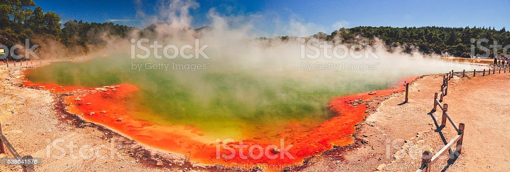 Wai-o-tapu coloured lakes stock photo