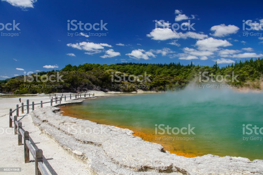 Waiotapu Geothermal Area North Island of New Zealand stock photo