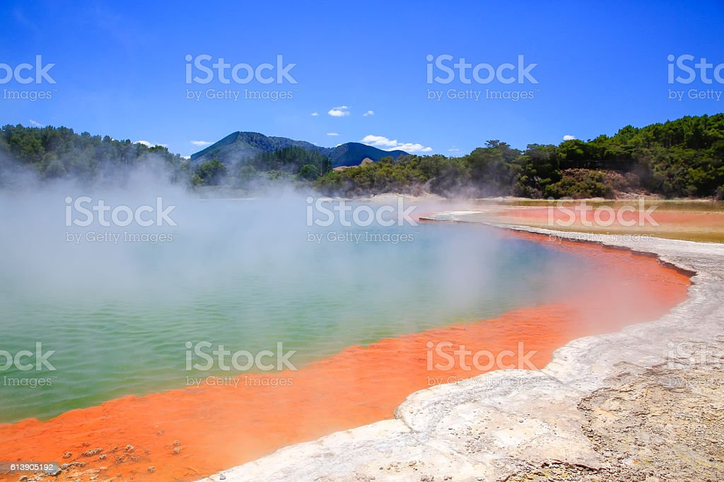 Wai-O-Tapu Thermal Wonderland in New Zealand. Champagne Pool stock photo