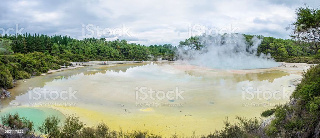 Wai-O-Tapu Thermal Wonderland which is located in Rotorua, New Zealand. stock photo
