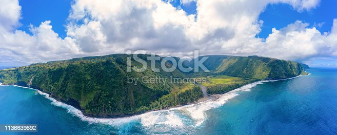 Waipio bay and Valley Big Island Hawaii Aerial Panorama