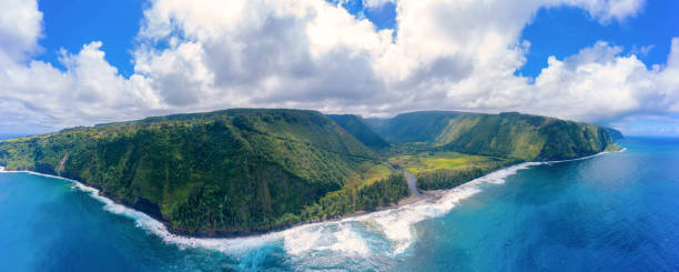 Waipio bay and Valley Big Island Hawaii Aerial Panorama stock photo