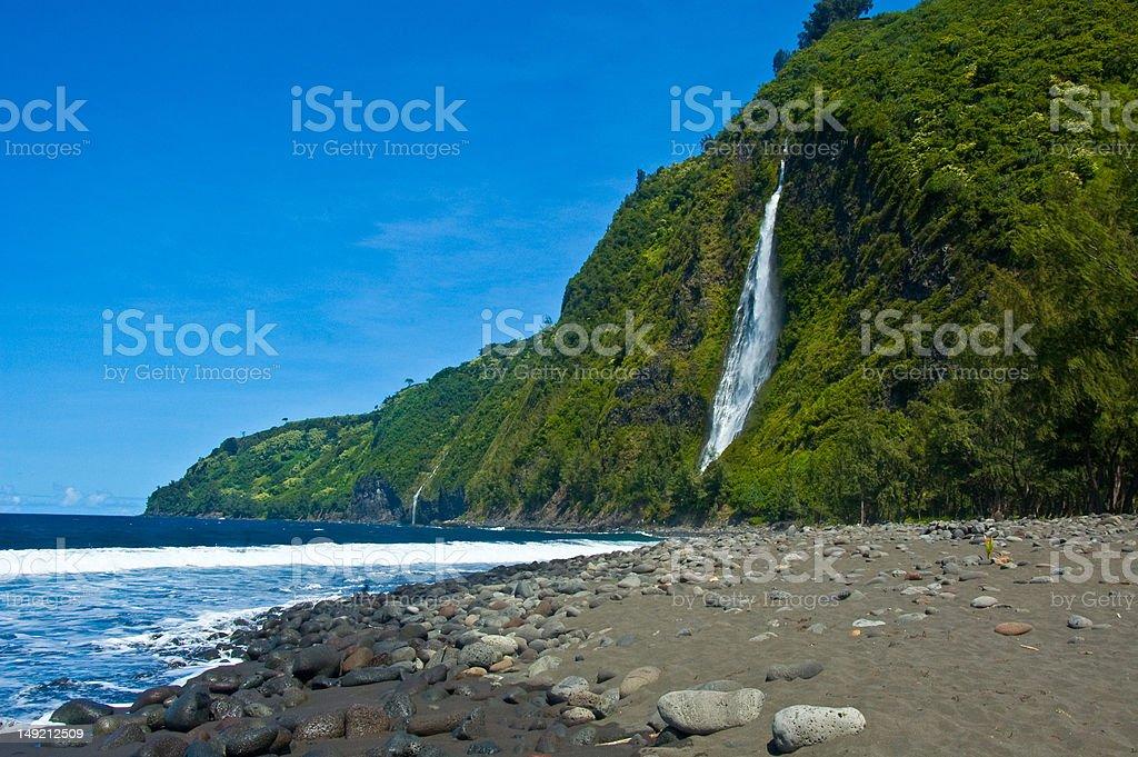 Waipio Valley Waterfall stock photo