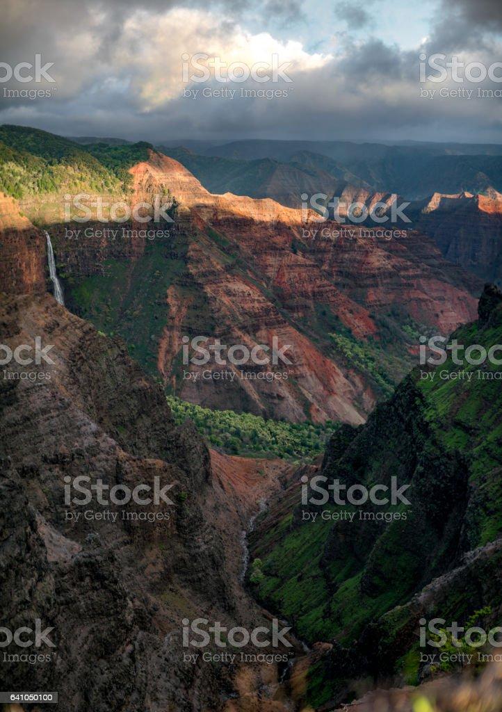 Waipo'o Falls in Waimea Canyon stock photo