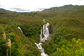 aerial view of waipunga falls on New Zealand South Island