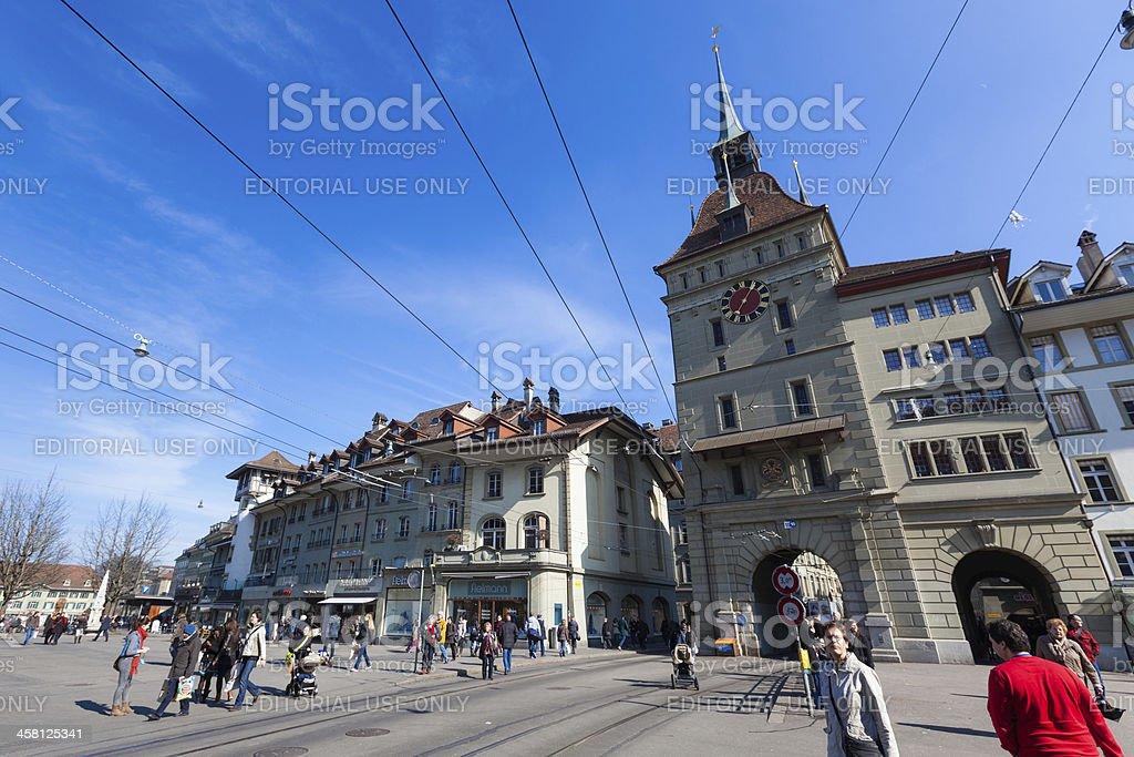 Waisenhausplatz and the Kafigturm Tower in Bern royalty-free stock photo
