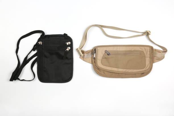 waist bag for carrying documents - waist bag stock photos and pictures