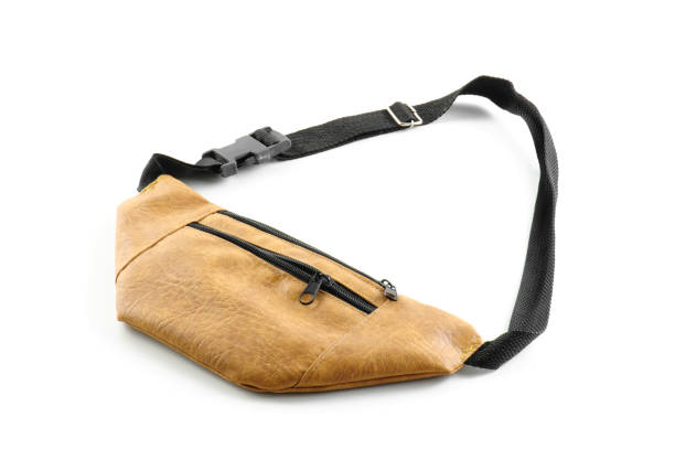 waist bag leather isolated on white background - waist bag stock photos and pictures