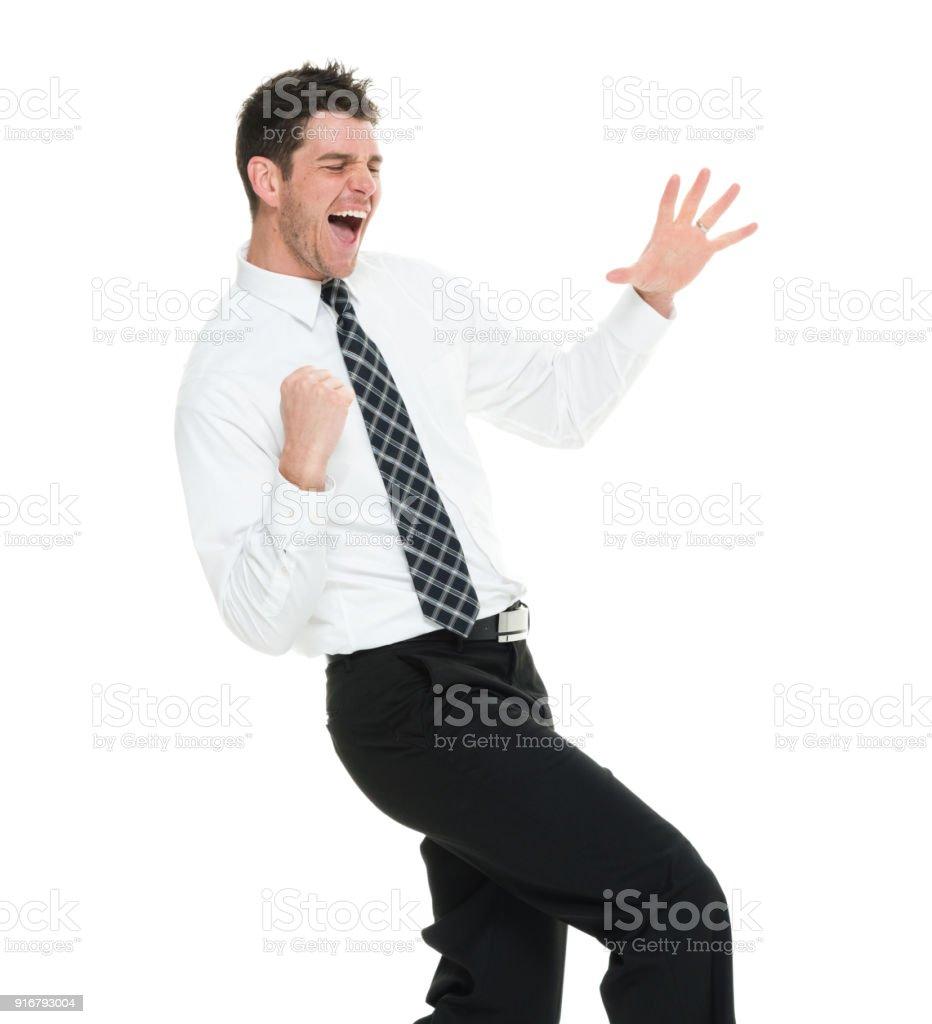 Taille bis Geschäftsmann freut sich – Foto
