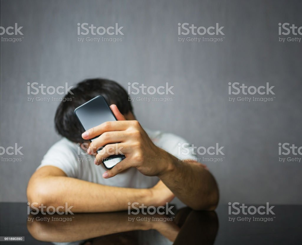 Wait and check phone screen stock photo
