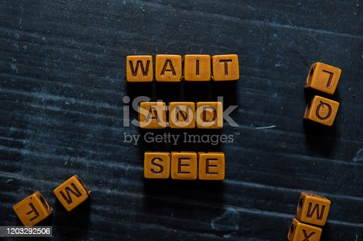Wait and See on wooden cubes. On table background