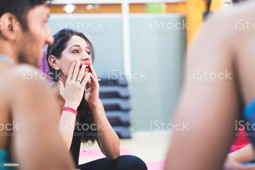 Wait, let me think should we do after our fitness class stock photo