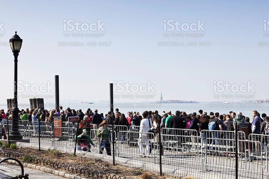 Wait Line for Ferry to Statue of Liberty stock photo