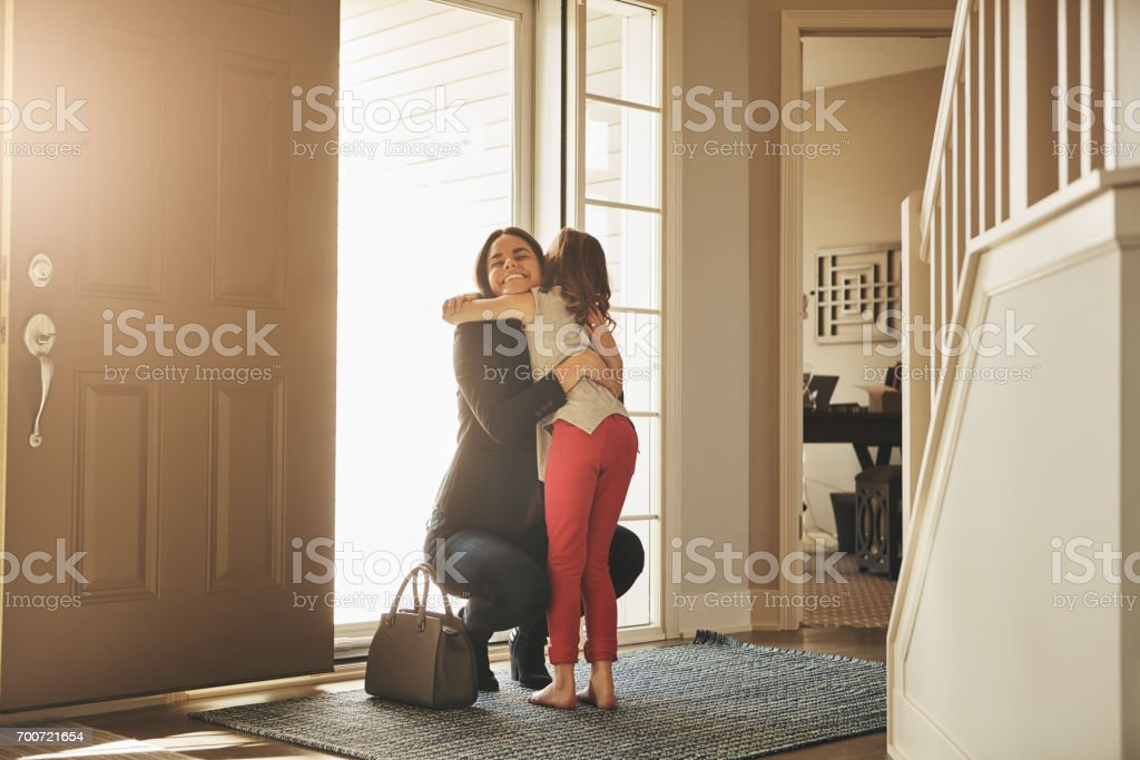 I waited all day for these hugs! stock photo