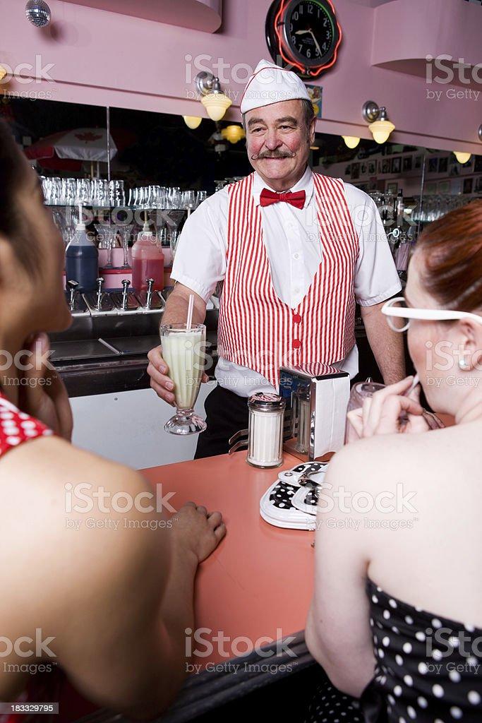 Waiter At Soda Shop stock photo