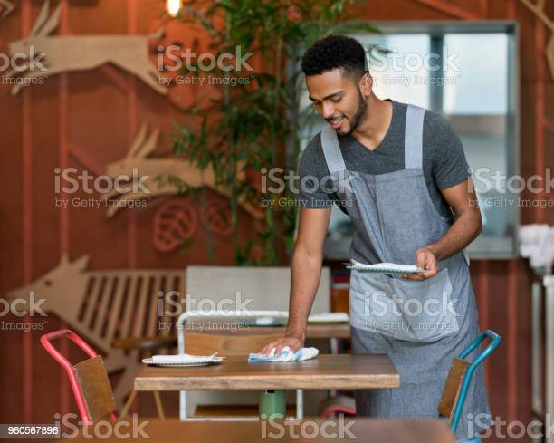 Waiter cleaning the tables at a restaurant picture id960567896?b=1&k=6&m=960567896&s=612x612&h=eld22pre01qyfol8nnmognb79gz9v3e6yk4akiw4jqs=
