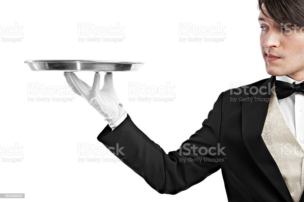 Waiter holding a tray royalty-free stock photo