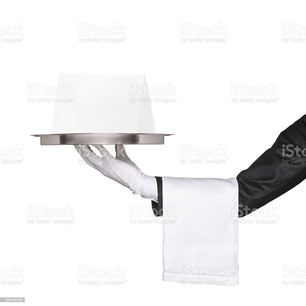 Waiter holding a tray with blank card royalty-free stock photo