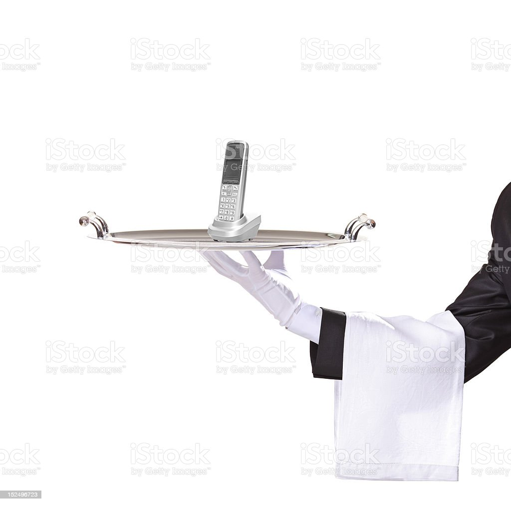 Waiter holding a tray with phone royalty-free stock photo
