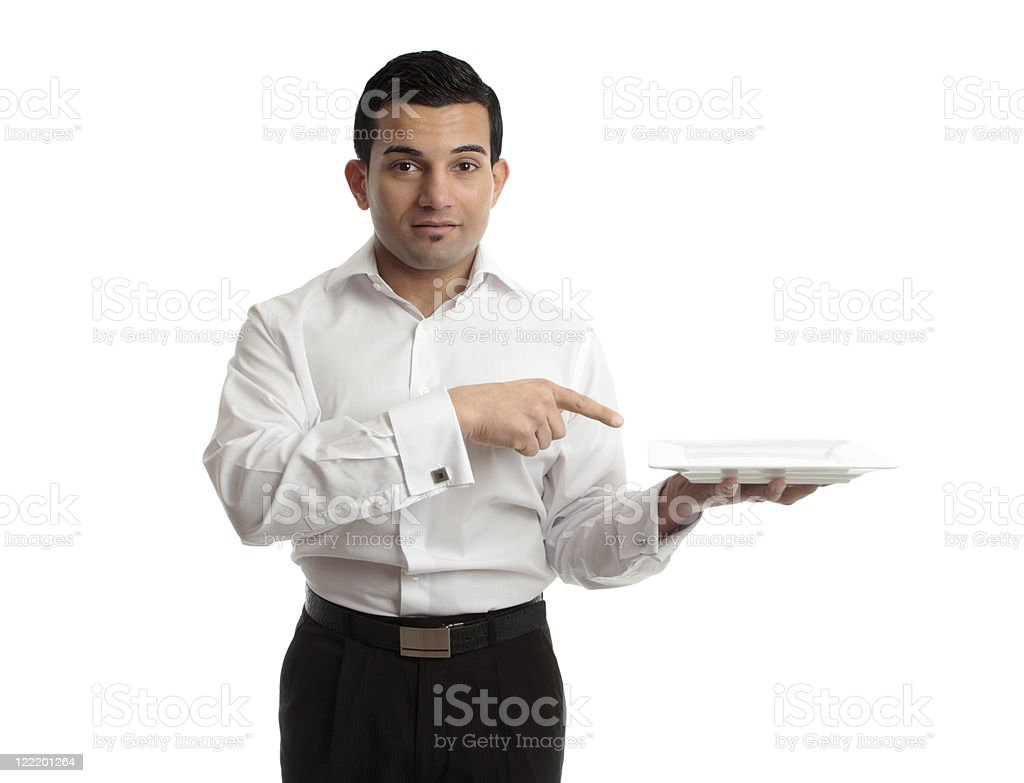 Waiter pointing to plate royalty-free stock photo